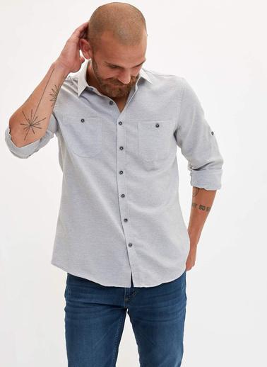 DeFacto Çift Cepli Slim Fit Gömlek Gri